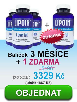 3 láhve pilulek spalování tuků - Lipoin, dosahující asi 3 měsíců + láhev Lipoin zdarma a uvedené propagační cena: 2142CZK