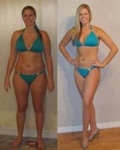 γυναίκα πριν και μετά την χρήση των δισκίων Lipoin για την απώλεια βάρους.