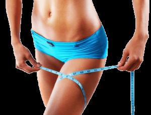 una donna con un metro a nastro intorno alla coscia dimostrando che Lipoin sono efficaci pillole per la perdita di peso!