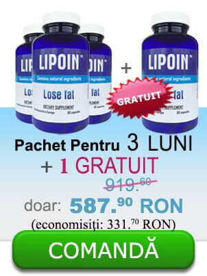 3 flacoane de pastile Lipoin care ajută la pierderea în greutate pentru 3 luni+ un flacon gratuit - 353.90 RON