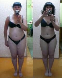 O femeie înainte și după utilizarea pastilelor Lipoin, la stânga este înainte și este grasă, iar la dreapta este după şi este subțire.